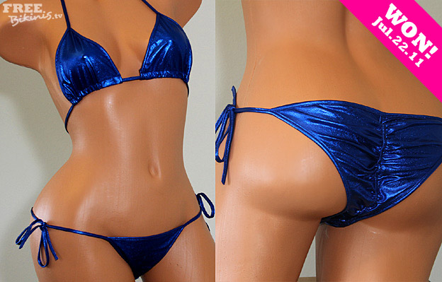 Blue Metallic Scrunch Bikini
